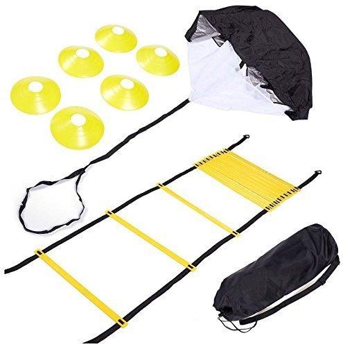 Speede Agility Training Set-Beinhaltet Agility Leiter, 6Disc Zapfen, Widerstand Fallschirm, 4stahl-edrspieße und einer Kordelzug Tasche