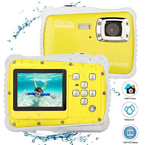 JLRSC W 1200 Active Child Unterwasser-Digitalkamera,3 Meter wasserdichte Digitalkamera mit LCD-Bildschirm TFT 2-Zoll-Video-Spielzeug-Camcorder Digitalzoom 8X/Pixel 12M
