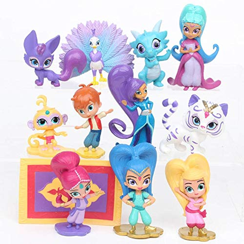 B123 Action & Toy Figures - 12Pcs/Set Shimmer Sister Action Figure Toys Cute Shine Girl Samira Pet Tiger Nahal Monkey Dragon Dolls 4-7CM for Baby Party Gift - by 1 PCs -