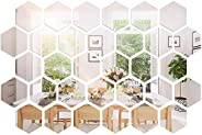 Arabest Mirror Wall Sticker, 36 Pieces Removable Acrylic Mirror Wall Decal, Hexagon Adhesive Wall Mirror for L
