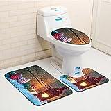 Tappetino da bagno Set 3pcs Natale gioiosi modello tappetino antiscivolo per doccia schiuma soffice tappetino da bagno e WC Mat set 6