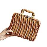 Henkeltaschen, Damen Handgelenkstaschen Bambus Handtasche Handgefertigt Große Taschen Strandtaschen Strand Umhängetasche Shopper