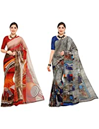 Sidhidata Textile Combo Of 2 Women's Printed Synthetic Georgette Saree With Unstitched Blouse Piece For Party...