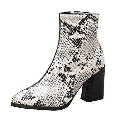 Serria® Nähen Dicker Absatz Booties Frauen zeigten hochhackige Mode Schlangenmuster Schuh Knöchel große Ankle Boot