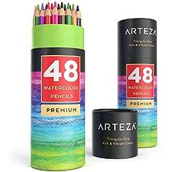 Lápices de acuarela con forma triangular suave de Arteza - Pack de 48 lapiceros ergonómicos preafilados
