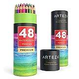 Arteza Crayons De Couleur Aquarelle En Bois avec le nom de couleur imprimé sur chaque crayon - Mine Souple - Forme Triangulaire - Pré-Aiguisé (en Tube de 48)