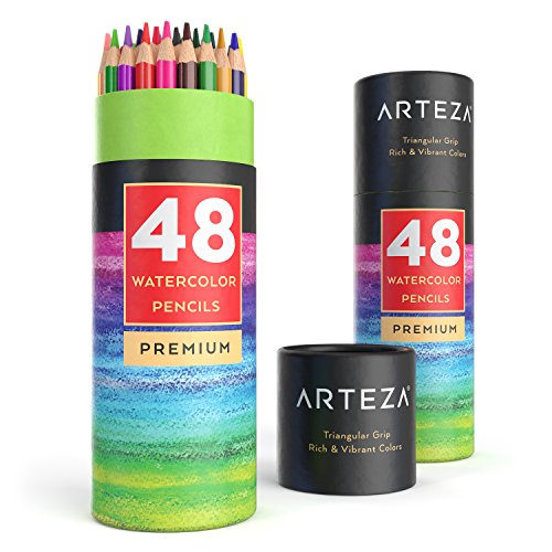 Arteza matite colorate acquerellabili da disegno, set da 48 pastelli triangolari pretemperati, lapis morbidi professionali, ideali per tratteggiare il tuo disegno e sfumare i colori