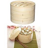 Takestop® Recipiente para cocción Vapor Oriental 20 cm (Bamboo Bambu trenzado 2 capas y