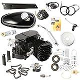 HPcutter Kit de Motor para Bicimoto de Dos Tiempos y 80 cc en Silenciador cromado Gas Engine Motor 2 Stroke Cycle Electric Bicycle Bike (Negro)