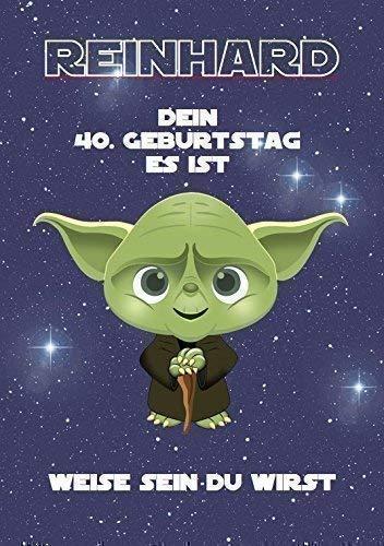 Geburtstagskarte für Mann oder Frau als Geschenk in DinA4 - Motiv: Star Wars (hier 40) | Personalisierte Geschenke zum Geburtstag für Männer (Jahrgang 1969: 50 Jahre) | Als Klappkarte oder Kunstdruck
