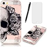Lotuslnn iPhone 5/5S/SE Coque,Apple iPhone 5/5S/SE TPU Silikon Etui Transparent Housse Cases and Covers (Coque+ Stylus Pen + Tempered Glass Protective Film)- Crâne