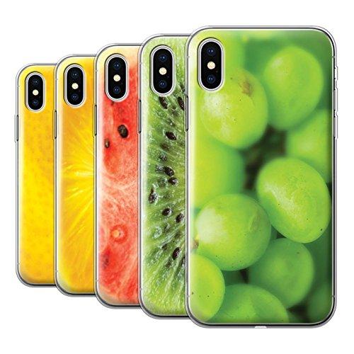 Stuff4 Gel TPU Hülle / Case für Apple iPhone X/10 / Orange Muster / Obst Kollektion Multipack (7 Modelle)