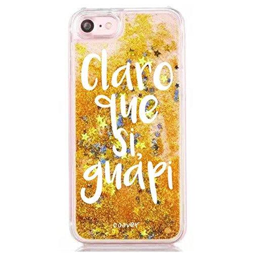 """Funda Dorada Agua """" Claro que si guapi """" Carcasa con estrellas purpurina Oro brillante Tpu silicona con liquido interior para iPhone 6 6S"""