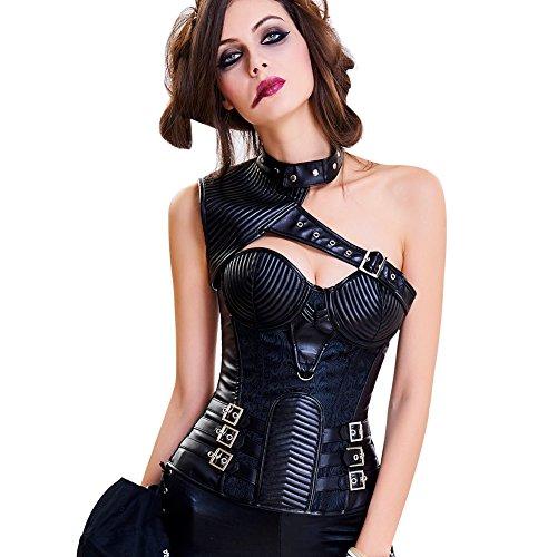Lover-Beauty Gothic Korsage Damen Steampunk Brokat Bustiers und Korsetts Korsage mit Stahlstäbchen Kostüm Halloween Weihnachten