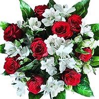 """Blumenstrauß""""Versenden mit Grußkarte"""" mit neun roten Rosen und verzweigten weißen Alstromerien"""