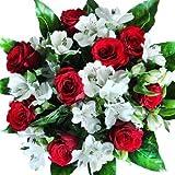 Blumenstrauß Versenden mit Grußkarte mit neun roten Rosen und verzweigten weißen Alstromerien