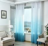 NIBESSER Vorhänge Transparent Schlaufenschal Gardine Dekoschal Voile mit Ösen für Schlafzimmer Wohnzimmer 2er Set (140Bx175H cm, Weiß und Blau)