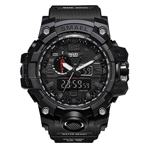 Orologio digitale e analogico da uomo, orologio da polso da uomo, stile militare, con led, digitale e analogico multifunzione-black-wch1545-bk