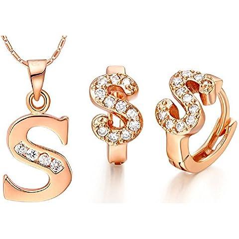 Bling fashion 18K oro rosa placcato 26lettere lettera S collana e (Dragonfly 9 Accent)