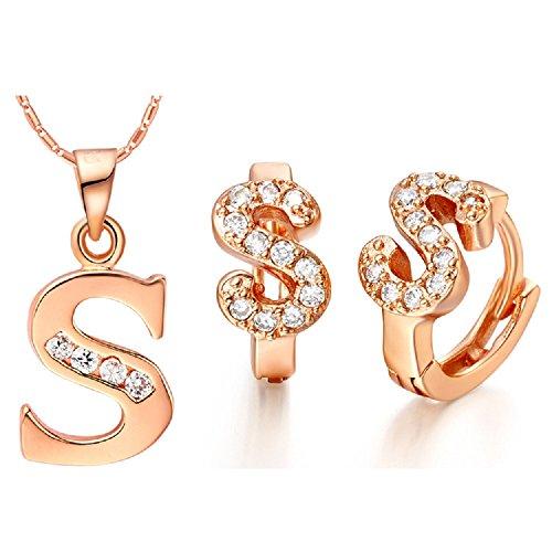 Bling fashion 18K oro rosa placcato 26lettere lettera S collana e orecchini