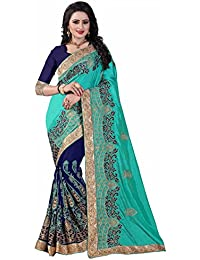 Kuvarba Fashion Paper Silk And Georgette Fabric Heavy Embroidered Work Designer Saree With Blouse Piece