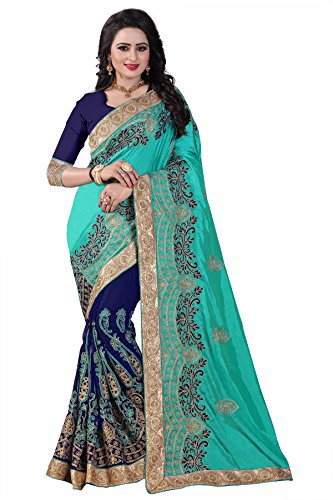 Kuvarba Fashion Paper Silk and Georgette fabric Heavy Embroidered Work Designer Saree...