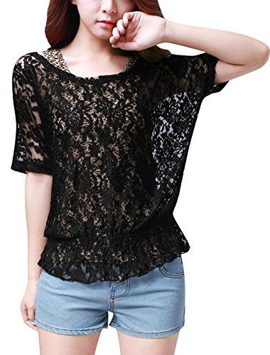 Allegra K Allegra K Femmes Half Sleeve Shirt dentelle élastique w Leopard Imprime Tank Top Black