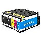 GPC Image 5 Pack Kompatible Tintenpatronen für HP 950XL 951XL 950 XL 951 XL für HP Officejet Pro 8620 8610 8100 8630 8600 251dw 276dw 8615 8640 8660 8625 Drucker (2 Schwarz, 1 Cyan, 1 Magenta, 1 Gelb)
