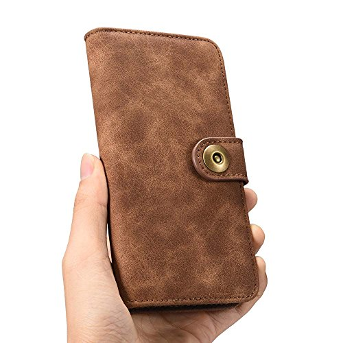 Custodia iPhone 7 Plus, Custodia iPhone 8 Plus, Dfly [Portafoglio Rimovibile] [Retro Premium Esterno PU Pelle e Apri Pelle Vero di Interno] Cover per iPhone 7 Plus / iPhone 8 Plus, Grigio Scuro Marrone Scuro