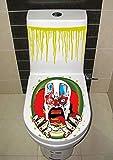 3D Stencil Parete Adesivi Camera Da Lettoorribile Coperchio Del Wc Murale Adesivo Adesivo Toilette Di Halloween Per Il Commercio Estero, Clown, Grande