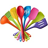 TTLIFE Silicone Spatula Utensil Kitchen Colorful 8 Pieces With Turner, Slotted spoon, Ladle, Spoon, Spoon Spatula, Spooula, Spatula, Basting brush by TTLIFE