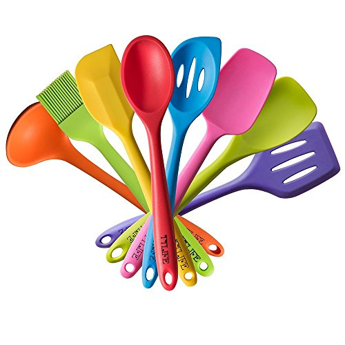 ttlife-silicone-spatula-utensil-kitchen-colorful-8-pieces-with-turner-slotted-spoon-ladle-spoon-spoo