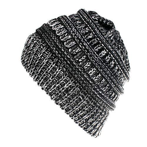 Lacoste Beanie Hüte (Unbekannt Mali Farbmischung Wolle Strickmütze Warm Halten Schachtelhalm-Kappe,Blackgraywhite)