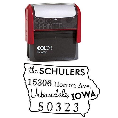 Benutzerdefinierte Iowa State Map Stempel Personalisierte Selbstfärber Familie Adresse Map Stamp - Personalisierte State Map