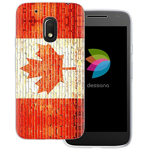 dessana Kanada Transparente Schutzhülle Handy Case Cover Tasche für Motorola Moto G4 Play Backstein Kanada (Motorola-backstein-handy)