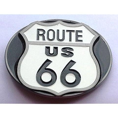 Route 66cintura fibbia color bianco e nero