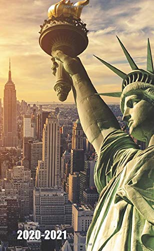 2020-2021: Two-Year Monthly Pocket Planner with Phone Book, Password Log and Notebook. Pretty 24 Months Agenda, Diary, Calendar and Organizer - Statue of Liberty & New York City
