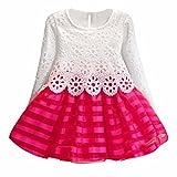 feiXIANG Mädchen Rock Langarm Prinzessin Kleid Hohle Blume Kleid Mädchen Kleid Slim Kinder Kleid Mode A-Linie Kleid (140, Heiß Rosa)