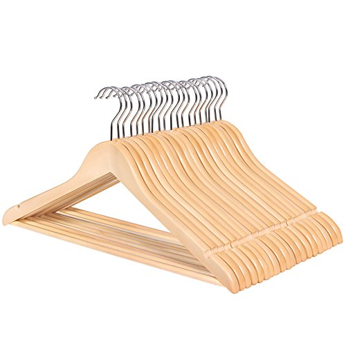 Songmics grucce portabiti in legno naturale rivestimento antiscivolo 44,5 cm 20 pezzi crw001-20