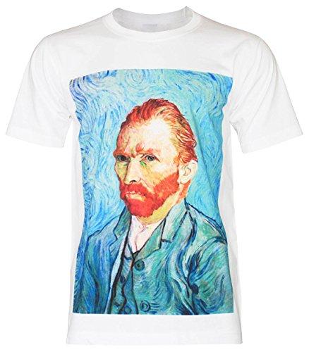 PALLAS Men's Vincent Van Gogh self portrait T-Shirt -PA281 (White , 2XL) -