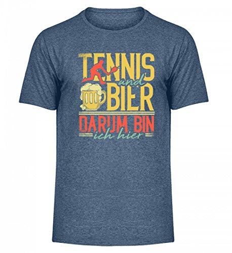 Hochwertiges Herren Melange Shirt - Tennis Und Bier Darum Bin Ich Hier - Tennisspieler Tennisschläger Durstlöscher Verein Ball