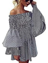 Tomatoa Damen Kleid Off-Shoulder Streifen Partei Damen Casual Kleider  Langarm Kleider Damen Tops Kleider 522f6342b2