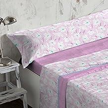 Burrito Blanco - Juego de sábanas Coralina 950 Malva para cama de 105x190/200 cm
