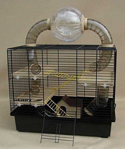 Nagerkäfig,Hamsterkäfig,Zwerghamsterkäfig, Rocky,Teddy Lux,Hamster,Maus,Nager,Käfig,Mäusekäfig incl. Röhrensystem Ball Oskar in beige in schwarzer Schale