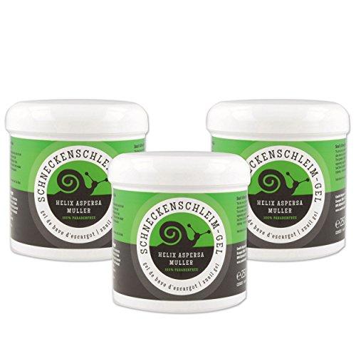 3x Camille Anti Aging Pflege Gel Schneckenschleim, Gel 250 ml mit Aloe Vera, Hautpflege Gel für die Regenerationsfähigkeit der Haut, Kosmetika