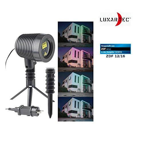 Lunartec Laser-Strahler: Laser-Projektor, bewegter Sternen-Regen-Lichteffekt, rot & grün, IP44 (Starshower)
