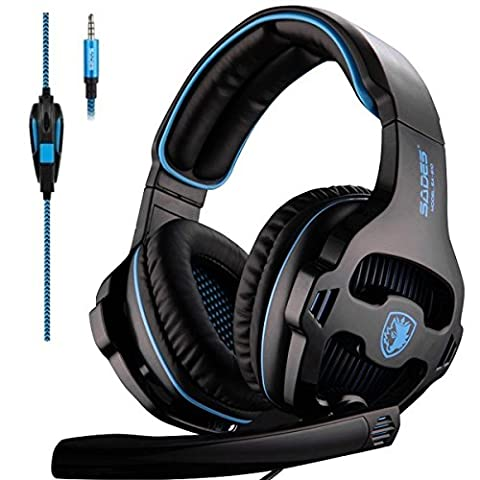 Sades SA810 Gaming Headset NEUF MIS à jour Xbox One Casque Over Ear stéréo casque de jeu basse Gaming casque avec micro pour isolation acoustique NEUF Xbox One PC PS4 pour ordinateur portable téléphone (NEUF Noir