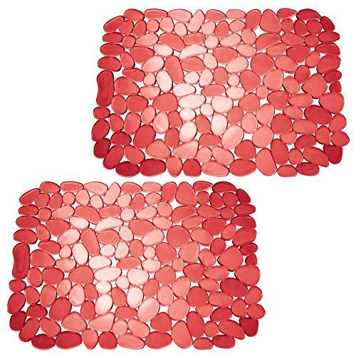 mDesign 2er-Set Spülbeckeneinlage zum Zuschneiden - praktische Spülbeckenmatte aus PVC für die Küche - Spülbecken Schutzmatte für Geschirr und Becken - rot (Die Für Spüle Gummi-matte)