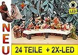 Weihnachts-Krippenfiguren-Zubehörset: Weihnachtskrippe & Osterkrippe,Abendmahl KOMPLETT mit Fußwaschung durch Jesus, MIT LED-BELEUCHTUNG, PREMIUM ÖLBAUM großes 24-tlg. Figuren-Set, das letzte Abendmahl Mk 14,12-25,- Passion Christi - für 9-10 cm Figuren