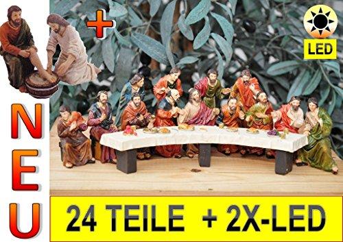 Weihnachtskrippe-krippenfiguren, Beleuchtung* Passionsfiguren,Abendmahl KOMPLETT mit Fußwaschung durch Jesus, MIT LED-BELEUCHTUNG, PREMIUM ÖLBAUM großes 24-tlg. Figuren-Set, das letzte Abendmahl Mk 14,12-25,- Passion Christi - für 9-10 cm Figuren, Figur-Krippenfiguren für Passionskrippe und Weihnachtskrippe - hochwertige ÖLBAUM-Passionsfiguren: 40 einzigartige Stationen, Fastenzeit von Aschermittwoch bis Ostern Deko, Auferstehung Jesus von Nazareth